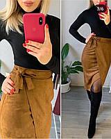 Женская осенняя юбка замш на дайвинге с поясом зеленый марсал коричневый 42 44 46 48