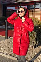 Женское удлиненное зимнее пальто-куртка шоколад красное черное белое оливка 42 44 46