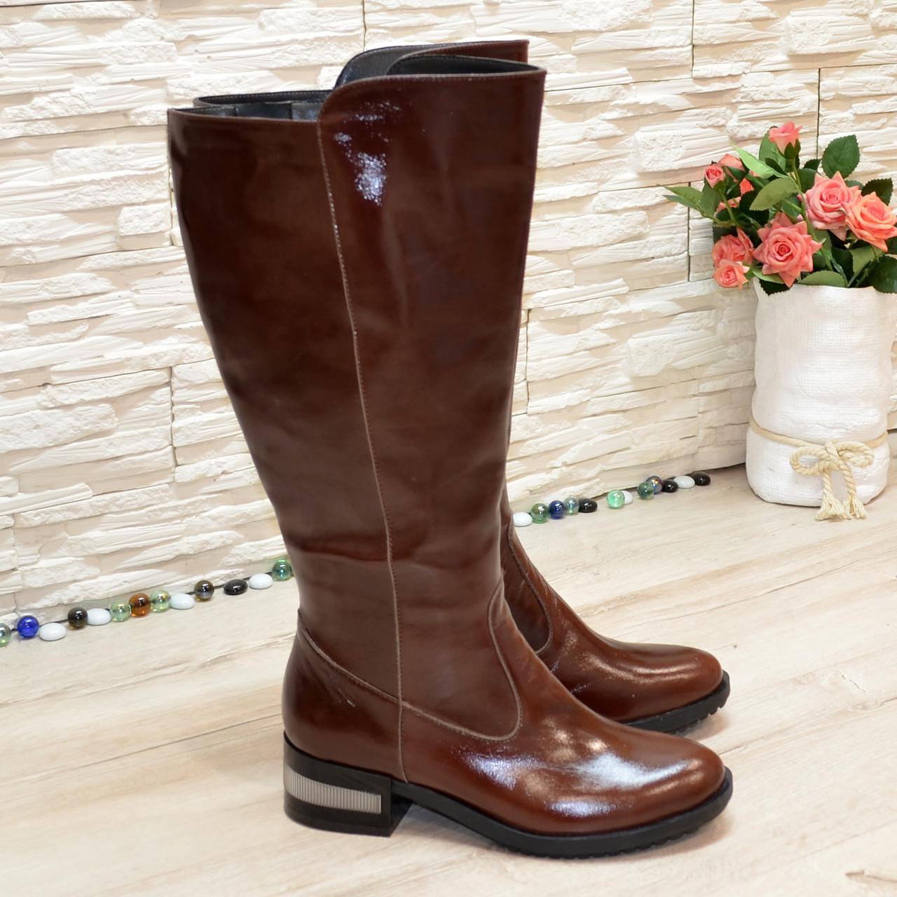 Сапоги женские кожаные коричневые на невысоком каблуке