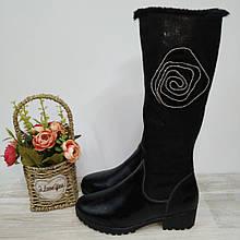 Чоботи зимові на дівчинку чорні М+Д 37,38 р арт 3965.