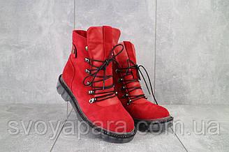 Ботинки женские Mkrafvt 1188/2 красные (замша, зима)