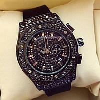 Часы женские наручные 116519 черные в стразах стильные с календарем