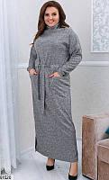 Платье женское длинное теплое ангора больших батальных размеров 48-62