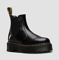Женские Зимние черные челси ботинки Dr.Martens Jadon PLATFORM CHELSEA (на меху) 1в1 Как Оригинал Мартинсы ААА+
