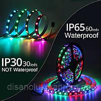 Светодиодная  Адресная Smart LED лента WS2812B 5V 30Led/m  5m RGB  IP30, фото 3