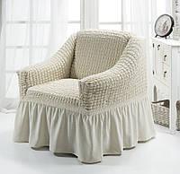 Натяжной чехол на кресло с оборкой, Турция с оборкой