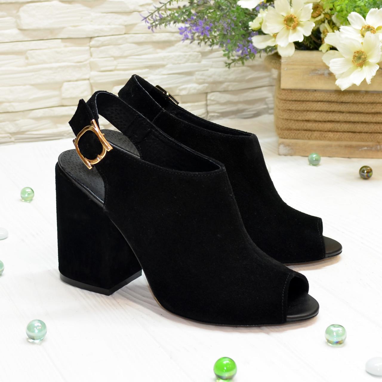 Босоножки замшевые черные женские на устойчивом каблуке