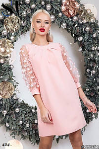 Платье костюмка, сетка с набивными цветами 42-44, 44-46