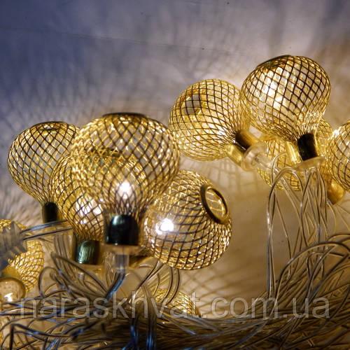 Гирлянда Купол cетка Золото LED 20