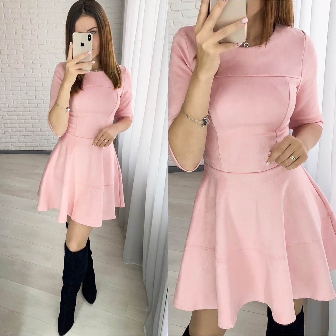 Нарядное платье из замша