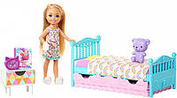 Игровой набор Кукла Барби Челси Спальная комната Barbie Club Chelsea Bedtime Playset (FXG83)
