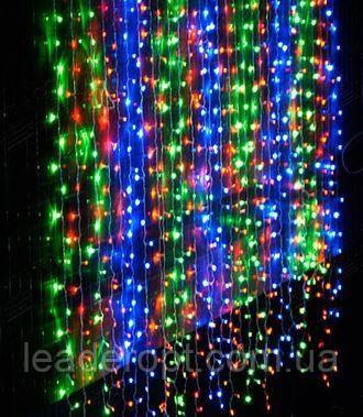 """[ОПТ] Вулична новорічна світлодіодна гірлянда """"Завісу"""", 180LED, 3м*3м, Різнокольорова"""