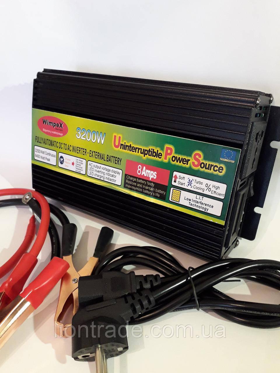 Преобразователь напряжения с зарядным 12v-220v 3200w (бесперебойник) UPS UKC