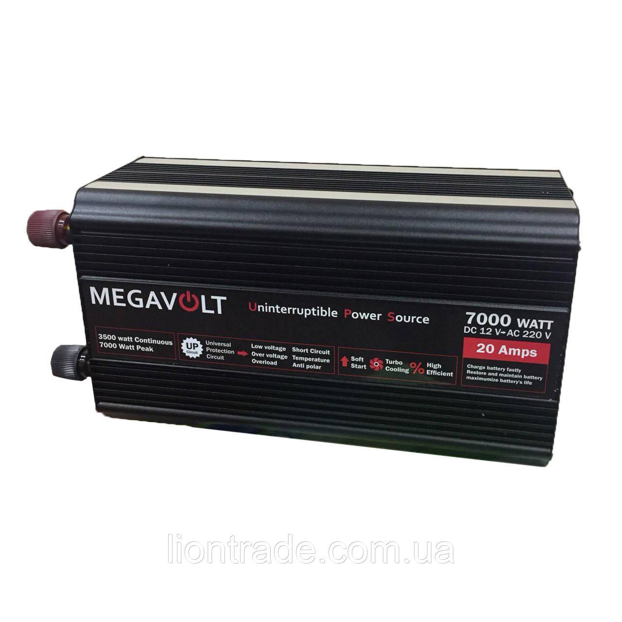 Перетворювач напруги з зарядним 12v-220v 7000w(безперебійник) UPS MEGAVOLT