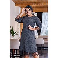 Платье тёплое 50.52.54.56  твид с ворсом+ гипюр Очень мягкое и теплое,шерсть