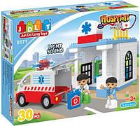Конструктор блочный JDLT 5171 Скорая помощь, 30 крупных деталей, копия LEGO Duplo