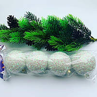 Шары новогодние.Новогоднее украшение-елочные шары белые(4 шт)