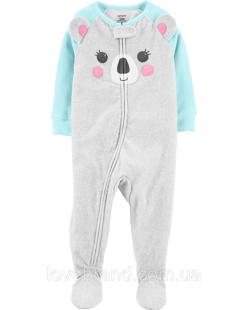 """Флисовый слип пижама для девочки Carter's """"Коала"""" с ножками 12 мес/72-78 см"""