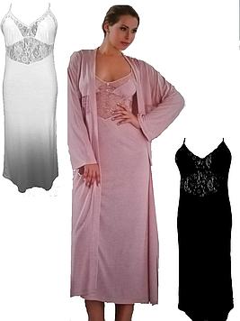 Длинный халат и ночная сорочка,48 размер,Ahu Lingerie,Турция