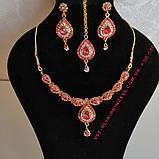 Индийский комплект колье, тика, серьги к сари под золото с розовыми камнями, фото 8