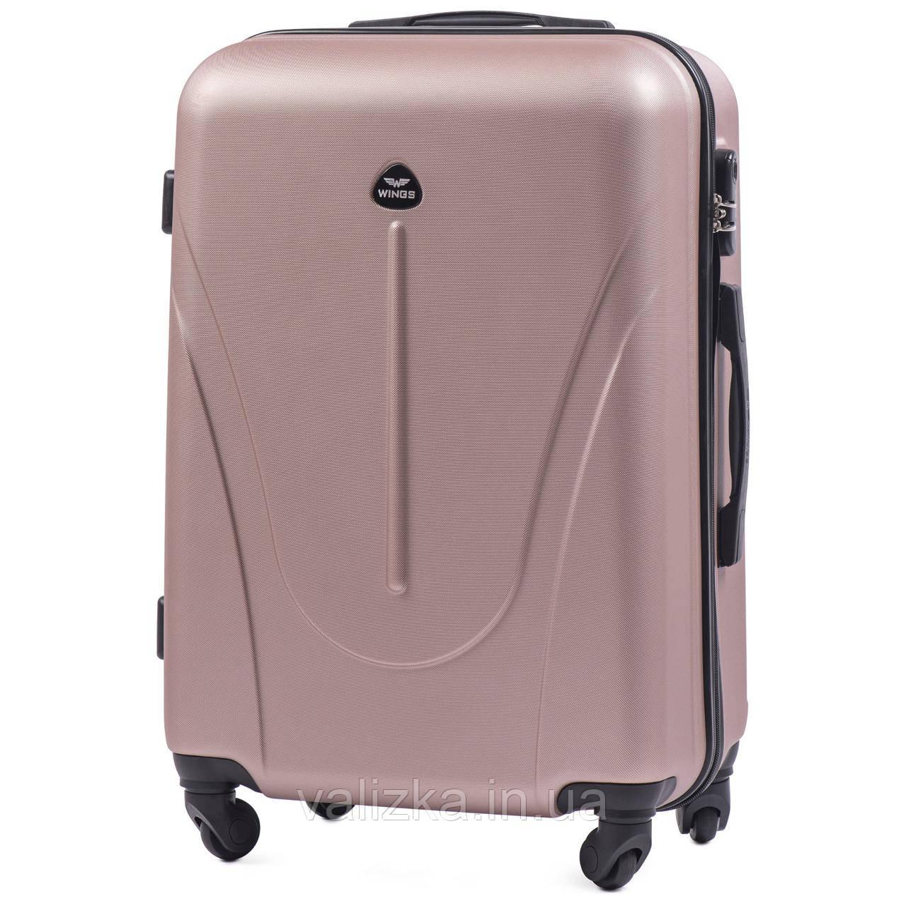 Средний пластиковый чемодан  Wings на 4-х колесах розовое золото