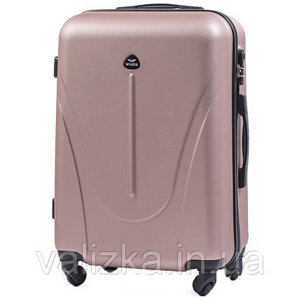 Средний пластиковый чемодан  Wings на 4-х колесах розовое золото, фото 2