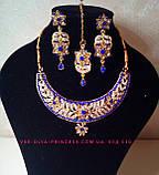 Індійський комплект кольє, тика, сережки до сарі під золото з бірюзовими камінням, фото 9