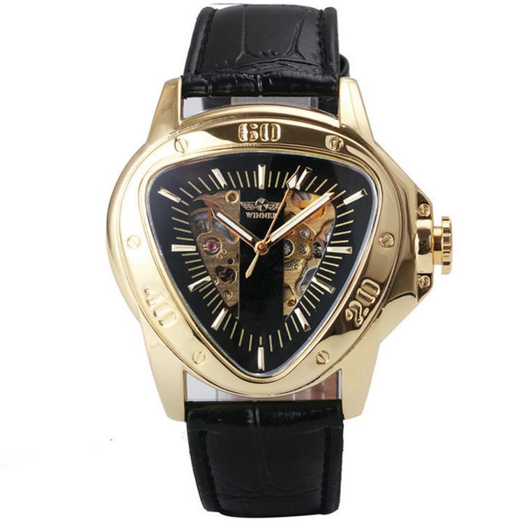 Механические часы с автоподзаводом Winner Skeleton, мужские наручные часы с кожаным ремешком виннер скелетон