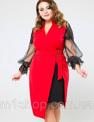 Женское красное платье с рукавами из сетки больших размеров (Фьюжи lzn), фото 2