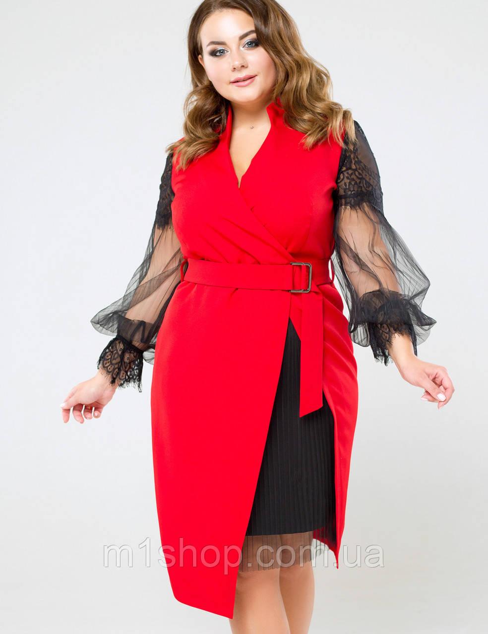 Женское красное платье с рукавами из сетки больших размеров (Фьюжи lzn)