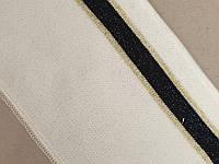 Манжет (довяз) трикотажный 90см х 8см. Белый с Черно/золотой полосой.