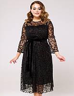 Женское черное вечернее платье с сеткой больших размеров (Реверанс lzn)