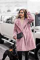 Женская розовая шуба из эко-меха 90 см с воротником (XS-M, L-XL)