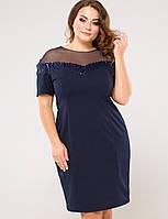 Женское платье с сеткой на груди из сетки для полных (Одри lzn )