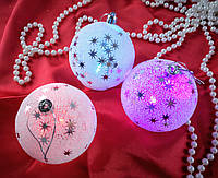 Новогодняя игрушка Шар 8 см со звездами пенопластом Свет. ЦЕНА за 1 шт. 91701-PN Pioner