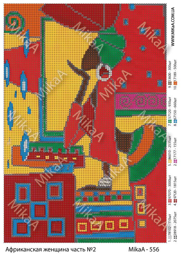 """Схема для полной вышивки бисером  - """"Африканская женщина 2 часть"""""""