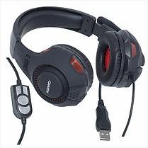 Игровые наушники с микрофоном USB геймерские для компьютера с подсветкой ПК игр черные с красным KOMC 301, фото 2