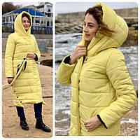 Куртка зимняя одеяло молния + кнопки матовая арт. M032 жёлтая / жёлтого цвета / жёлтый