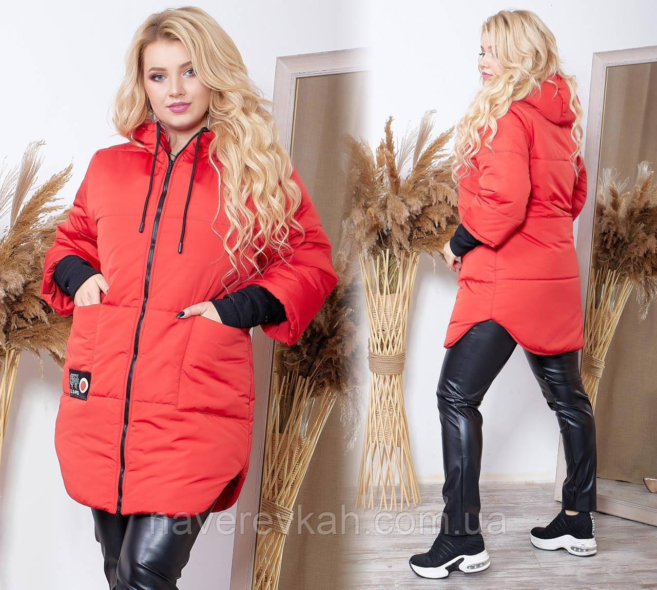 Женская зимняя теплая куртка плащевка на синтепоне баклажан чёрный красный голубой 48-50 52-54 56-58 60-62