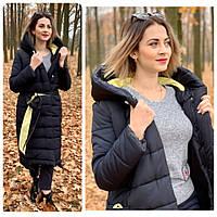 Зимняя куртка - одеяло на молнии  матовая арт. M032 чёрная с жёлтым / черная с желтым