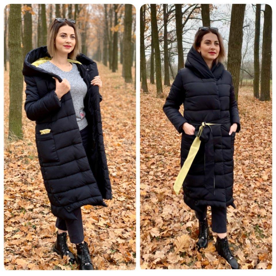Женская зимняя куртка на силиконе  черная с желтым M032