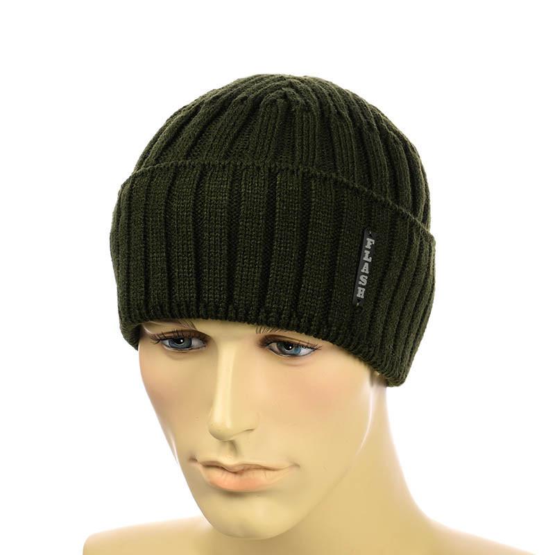Мужская шапка  с отворотом 2*2  хаки