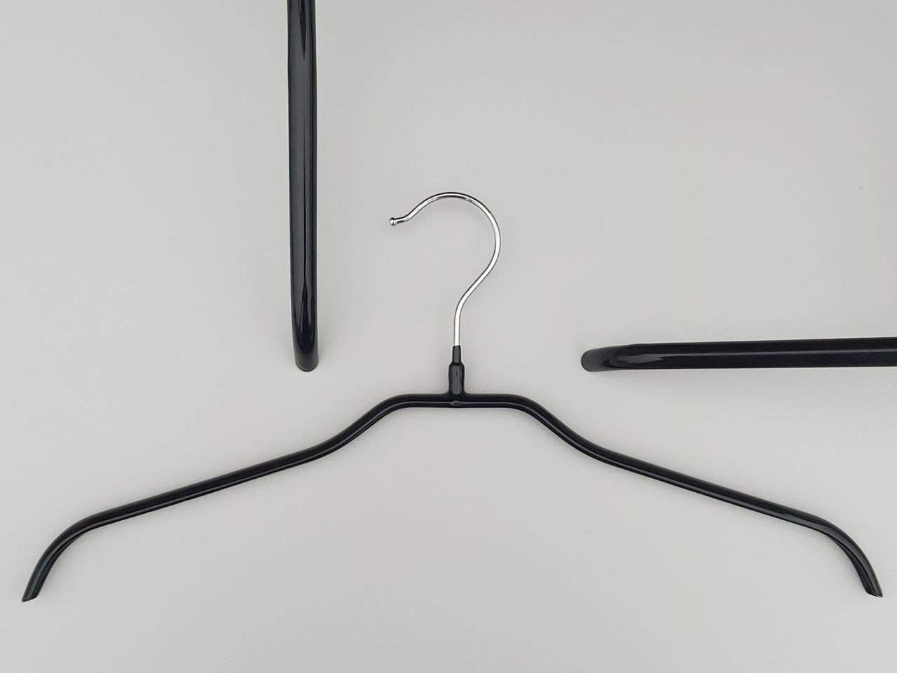 Плечики металлические в силиконовом покрытии черного цвета, 44 см