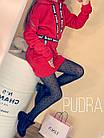 Женское платье-туника с капюшоном на флисе красный серый черный 42-46 48-50, фото 3