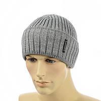 Мужская шапка  с отворотом 2*1 серый