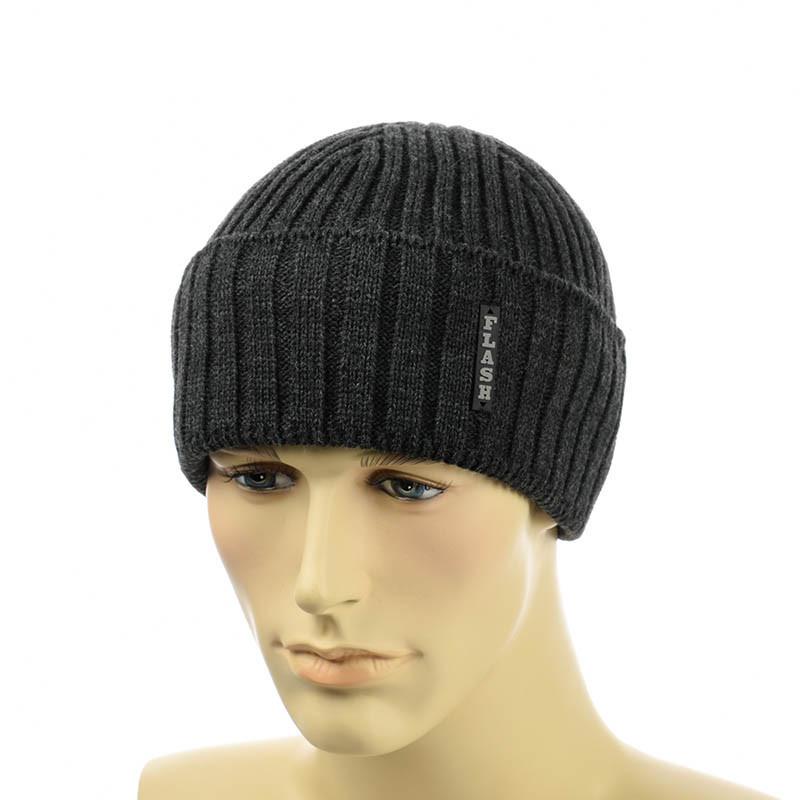 Мужская шапка  с отворотом 2*1 темно-серый