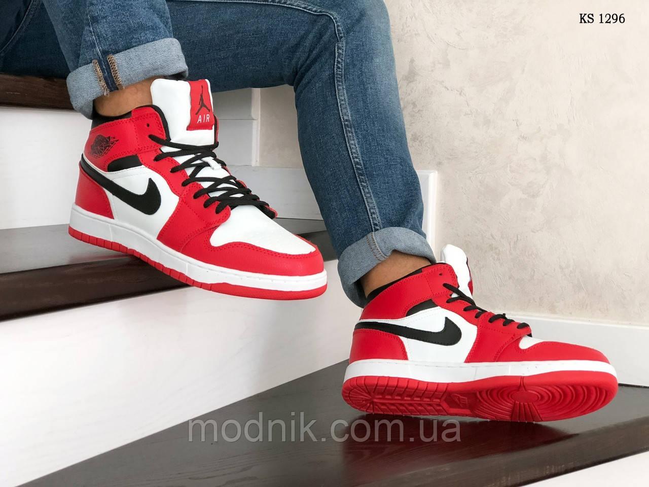 Мужские зимние кроссовки Nike Air Jordan 1 Retro (красно-белые)