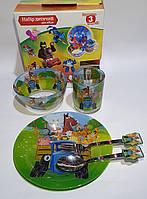 Набор стеклянной детской посуды Metr+ синий трактор