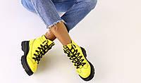 Ботинки зимние женские Off-White, желтые, натуральная кожа, внутри - полушерсть, код FS-6619-2