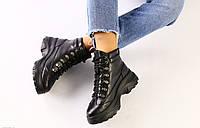 Ботинки зимние женские, черные, натуральная кожа, внутри - полушерсть, код FS-6619-1